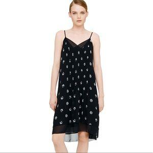 Club Monaco Kareema Silk Slip Dress Black Pleated